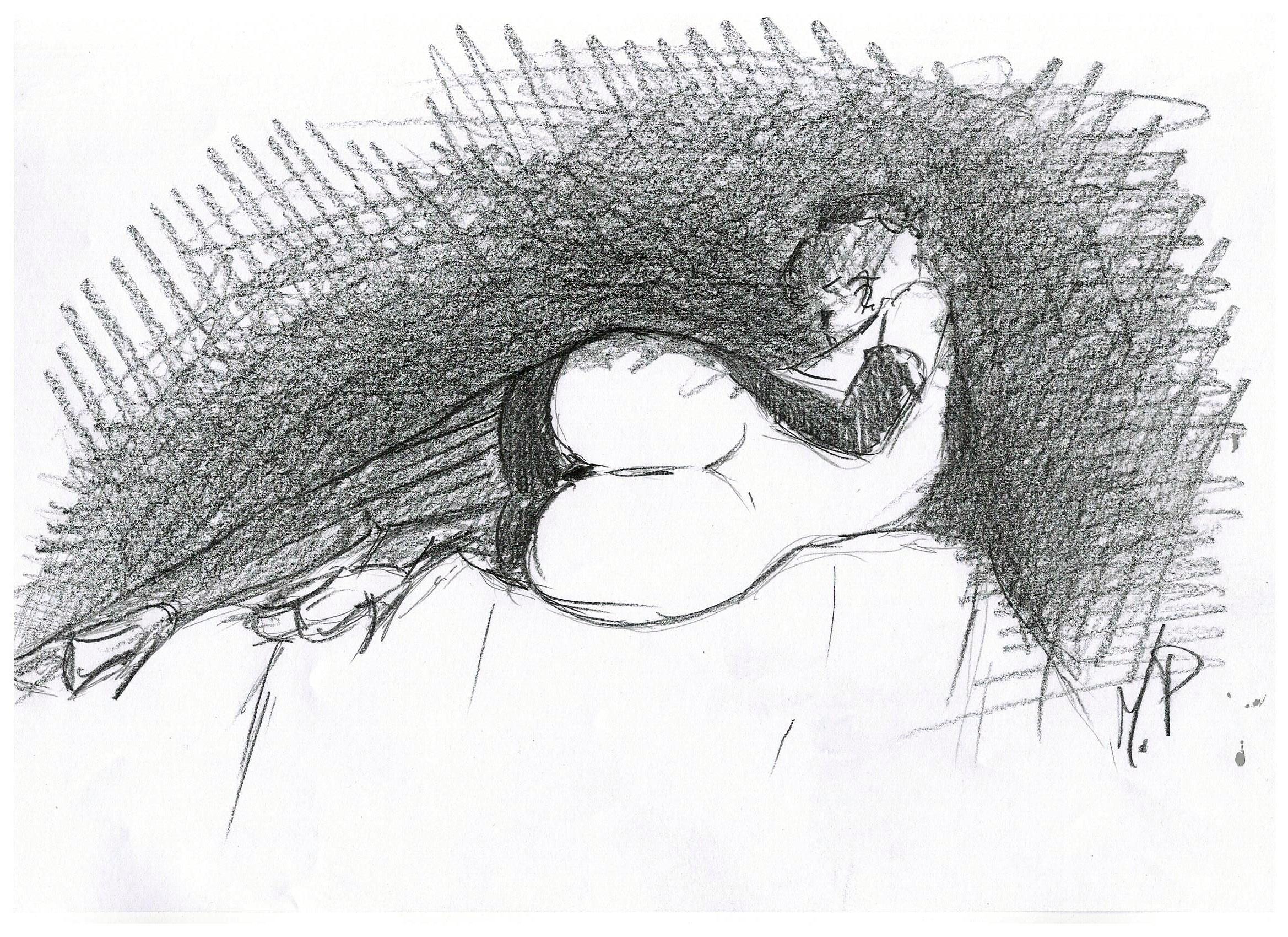 Schizzando di getto, 2018 disegno a matita su foglio cm 29,5x21, Pasquale Mastrogiacomo, Acerno (SA).