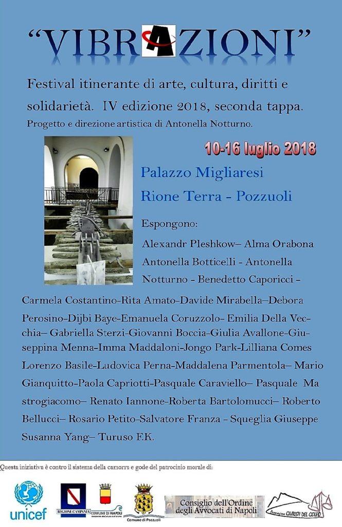 """Locandina della mostra """"Vibrazioni"""" IV edizione 2018, Pasquale Mastrogiacomo"""
