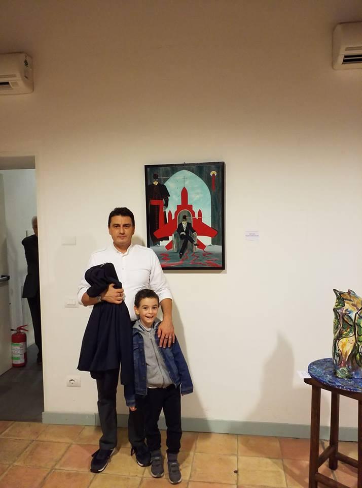 Foto ricordo con Pio Giuseppe alla Terza Biennale D'Arte Contemporanea Di Salerno 2018, con la mia opera: Intellighenzia ambivalente, 2018 olio su tela, cm 60x80, Pasquale Mastrogiacomo
