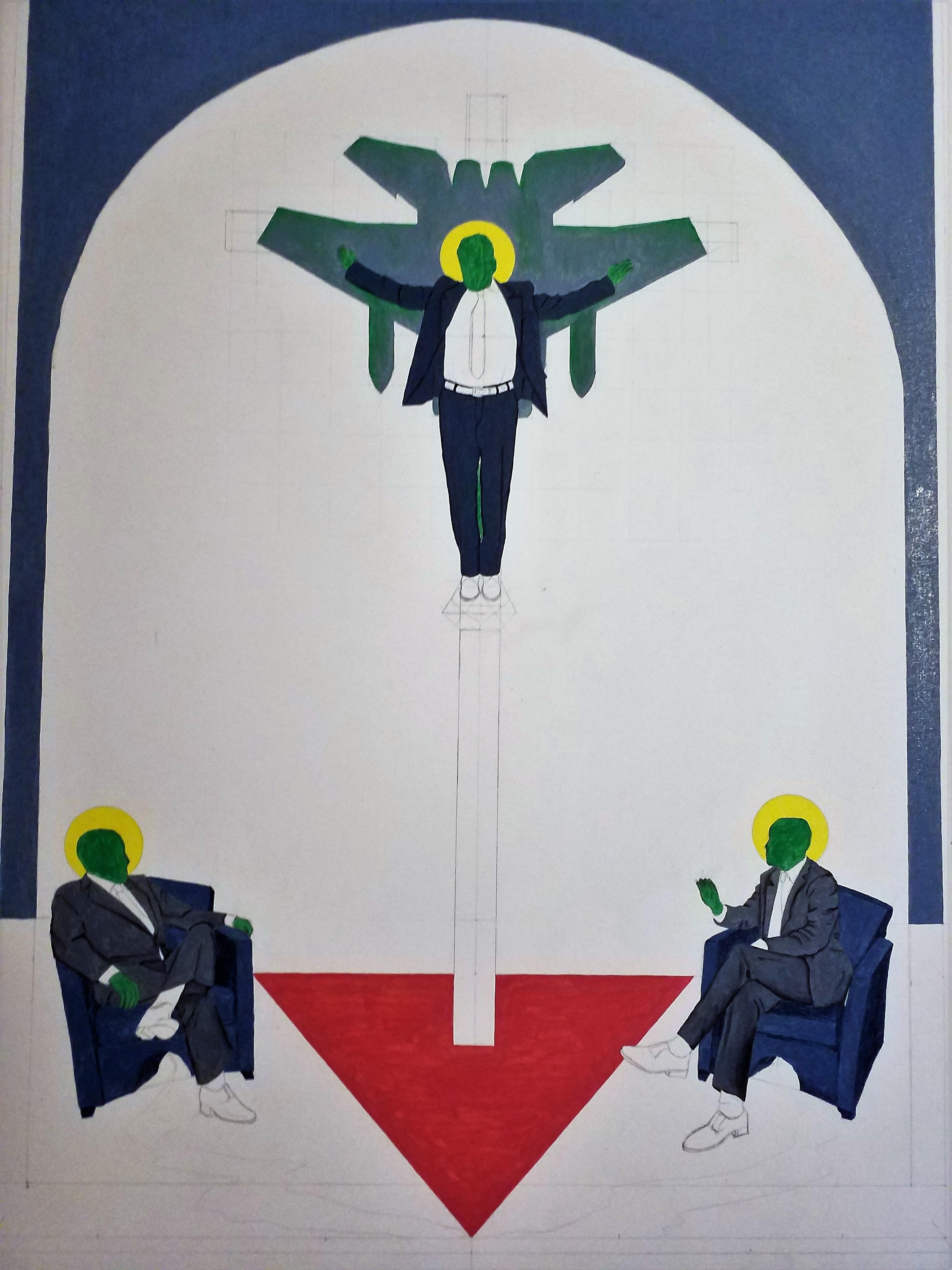 L'inizio di un quadro, 2018 cm 60x80, olio su tela, Pasquale Mastrogiacomo