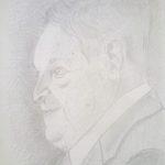 Ritratto di George Soros, 2018 cm 24x34,disegno con MINA D'ARGENTO PURO 1000/1000 su carta preparata opportunamente, Pasquale Mastrogiacomo,Acerno(SA).