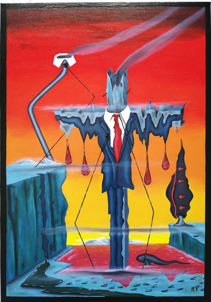Istogramma di una crocifissione (Histogram of a Crucifixion), 2018, olio su tela (oil painting on canvas),cm 35x50, Pasquale Mastrogiacomo, Acerno(SA).