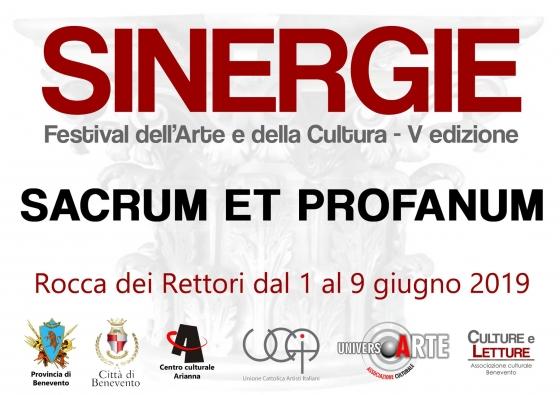 Invito per la mostra SINERGIE, Sacrum et Profanum, 2019, Pasquale Mastrogiacomo, Acerno(SA).
