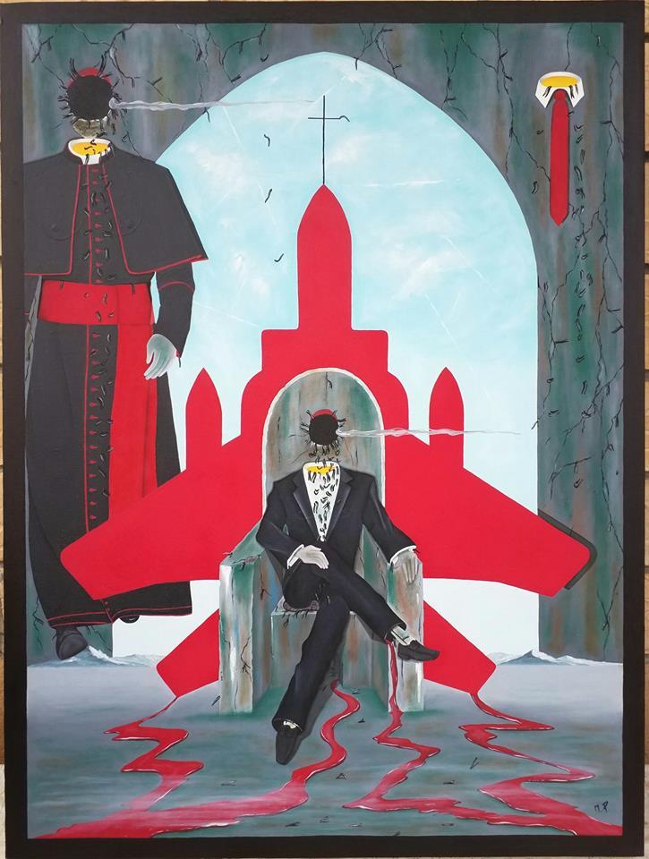 Intellighenzia ambivalente, 2018 olio su tela, cm 60×80, Pasquale Mastrogiacomo