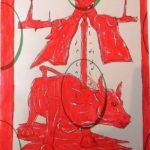 Taccuino di CAR..ta sottovuoto (composizione 1/8), 2019, penna nera e rosso fluorescente su carta politenata plastificata, Pasquale Mastrogiacomo