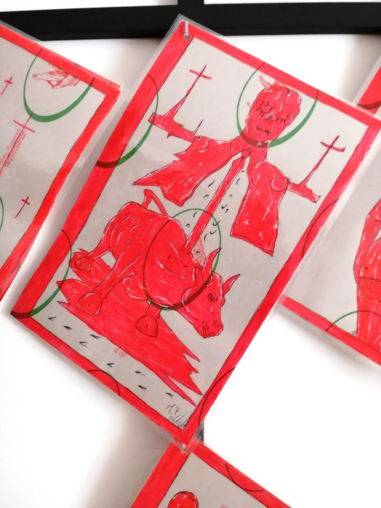 Taccuino di CAR..ta sottovuoto, 2019, penna nera e rosso fluorescente su carta politenata plastificata, Pasquale Mastrogiacomo