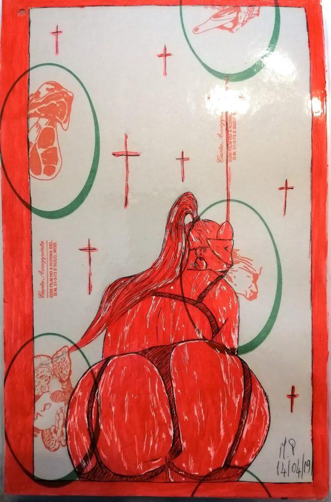 Taccuino di CAR..ta sottovuoto (composizione 3/8), 2019, penna nera e rosso fluorescente su carta politenata plastificata, Pasquale Mastrogiacomo