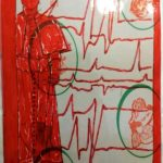 Taccuino di CAR..ta sottovuoto (composizione 4/8), 2019, penna nera e rosso fluorescente su carta politenata plastificata, Pasquale Mastrogiacomo
