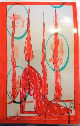 Taccuino di CAR..ta sottovuoto (composizione 5/8), 2019, penna nera e rosso fluorescente su carta politenata plastificata, Pasquale Mastrogiacomo