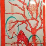 Taccuino di CAR..ta sottovuoto (composizione 7/8), 2019, penna nera e rosso fluorescente su carta politenata plastificata, Pasquale Mastrogiacomo