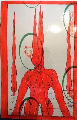 Taccuino di CAR..ta sottovuoto (composizione 6/8), 2019, penna nera e rosso fluorescente su carta politenata plastificata, Pasquale Mastrogiacomo