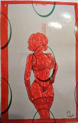 Taccuino di CAR..ta sottovuoto (composizione 2/8), 2019, penna nera e rosso fluorescente su carta politenata plastificata, Pasquale Mastrogiacomo