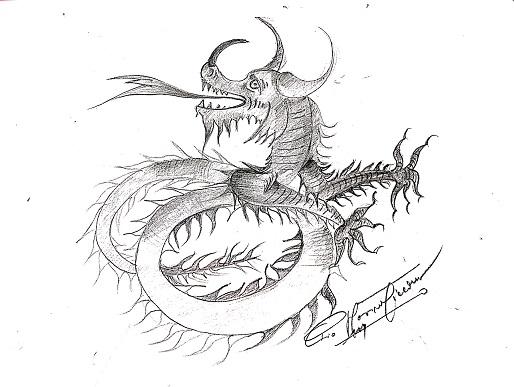 Animale fantastico, s.d disegno matita su carta, Pio Mastrogiacomo.