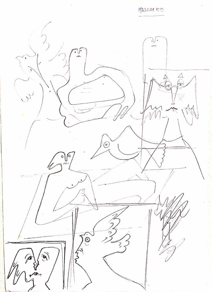 Pio Mastrogiacomo,s.d disegno a penna su carta, Acerno(SA)