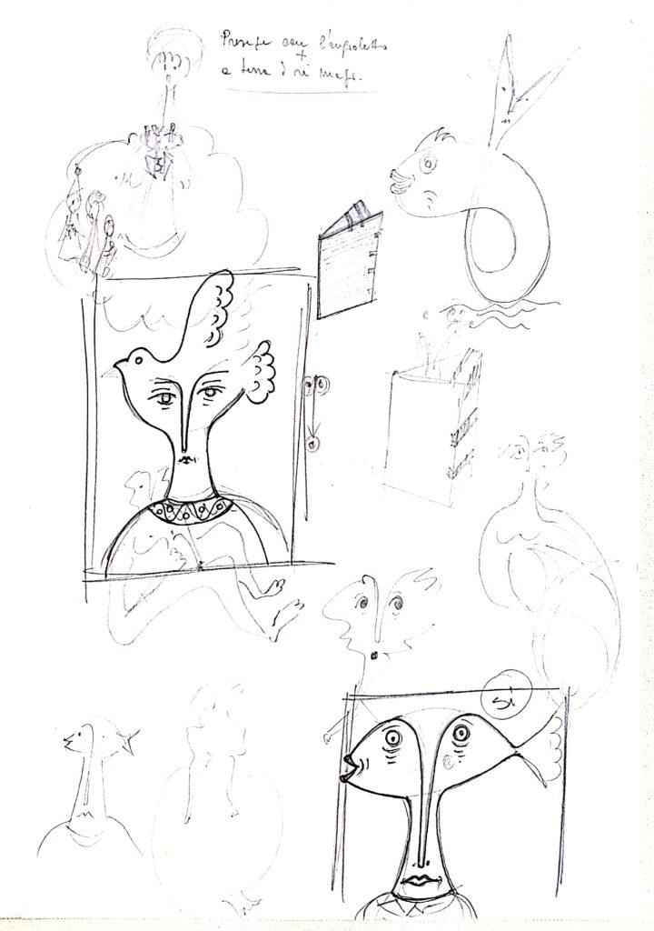 Pio Mastrogiacomo, s.d disegno a penna su carta,Acerno(SA)