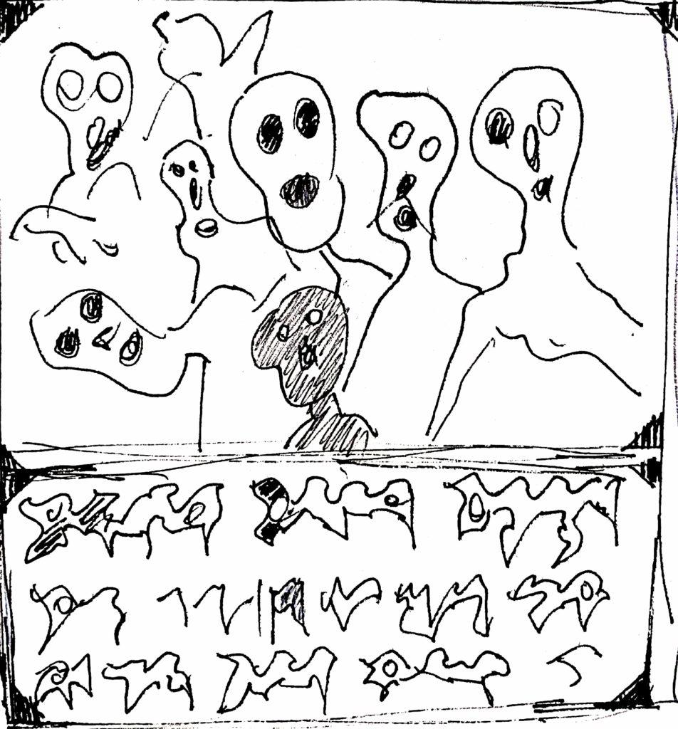 Pio Mastrogiacomo,s.d disegno a pennarello su carta, Acerno(SA)