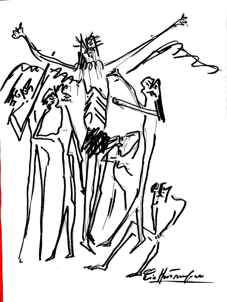 Crocifissione, Pio Mastrogiacomo, s.d disegno a pennarello su carta,Acerno(SA)