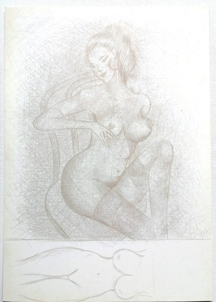 Schizzando di getto i grandi maestri della fotografia, 2018 cm 24x34,disegno con MINA D'ARGENTO PURO 1000/1000 su carta preparata opportunamente, Pasquale Mastrogiacomo, Acerno (SA).