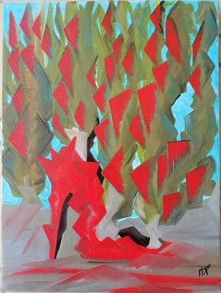Scarpa décolleté in ROSSO, 2019 olio su tela, cm 35x50, Pasquale Mastrogiacomo.