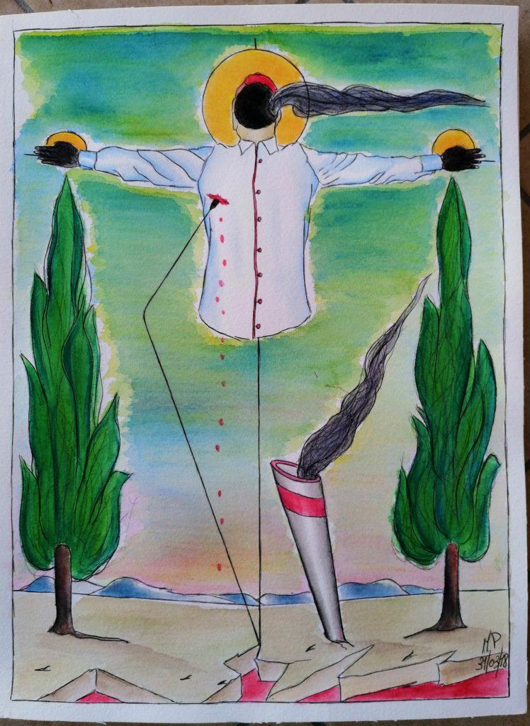 Crocifissione di un colletto bianco, 2019,disegno a penna e acquerello, cm30x40, Pasquale Mastrogiacomo.