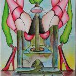 Purificazione con Erotismo, 2019 disegno a penna nera e acquerello su carta di Amalfi, cm 17x24, Pasquale Mastrogiacomo.
