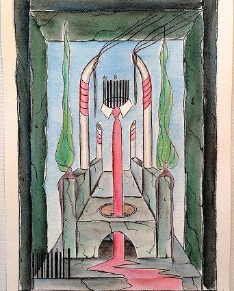 Sedile colatoio con codice a barre, 2019, disegno a penna nera e acquerello su carta di Amalfi cm 17x24, Pasquale Mastrogiacomo.