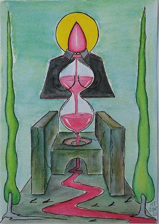Sedile colatoio con ampolla sacra, 2020 disegno a penna nera e acquerello su carta di Amalfi 100% cotone, cm 17×24,Pasquale Mastrogiacomo.
