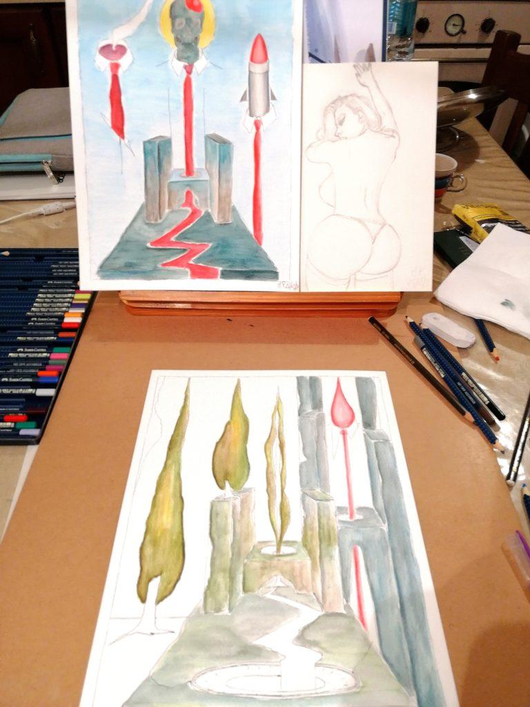 Contemplando sulla sinistra un PUTRIDARIUM con il sedile colatoio e sulla destra la bellezza sinuosa della DONNA.Acquerelli in libertà,2020, Pasquale Mastrogiacomo.