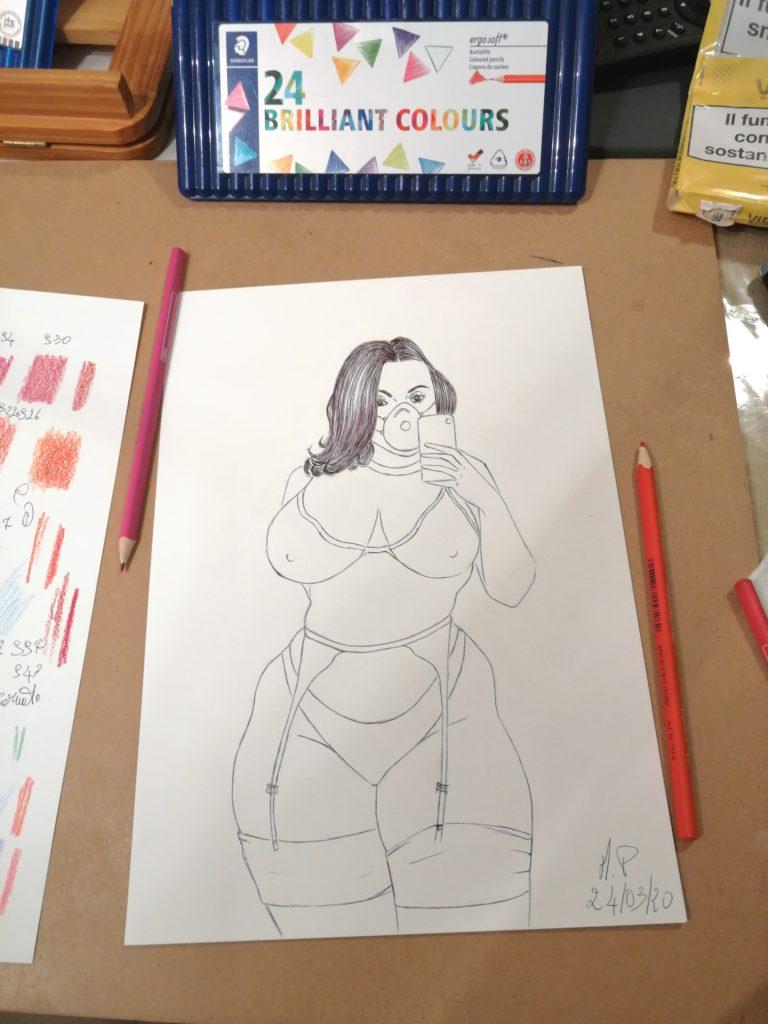 Momenti al lavoro,2020 disegni in libertà,Pasquale Mastrogiacomo.