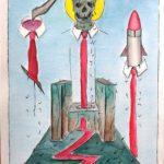 PUTRIDARIUM con sedile colatoio e sanguisughe, 2020 disegno a penna nera e acquerello su carta Fabriano,cm 21x29,Pasquale Mastrogiacomo.