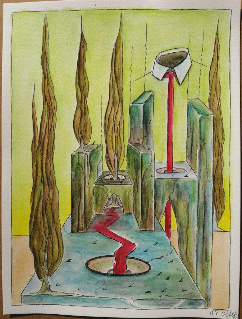 PUTRIDARIUM con sedile colatoio e sanguisughe, 2020 disegno a penna nera e acquerello su carta ,cm 21x29,Pasquale Mastrogiacomo.