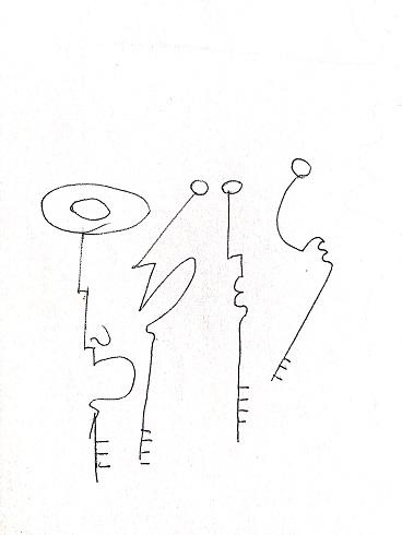Le chiavi di Pio Mastrogiacomo,s.d disegno a penna nera su carta.