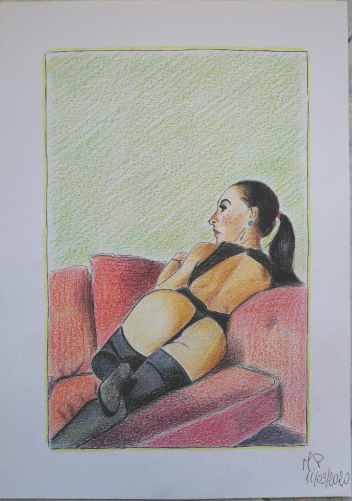 Donna distesa, 2020 disegno a penna e matite colorate su foglio FABBRIANO,cm 21x29,Pasquale Mastrogiacomo.