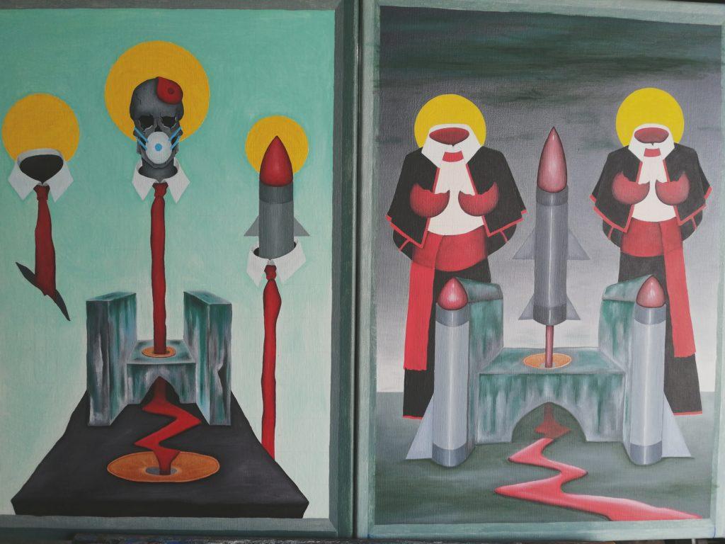 Momenti al lavoro,2020 lavori in corso,dipinti olio su tela,Pasquale Mastrogiacomo