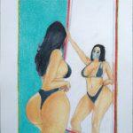 Donna allo specchio,2020 disegno a penna e matite colorate su foglio FABBRIANO,cm 21x29,Pasquale Mastrogiacomo.