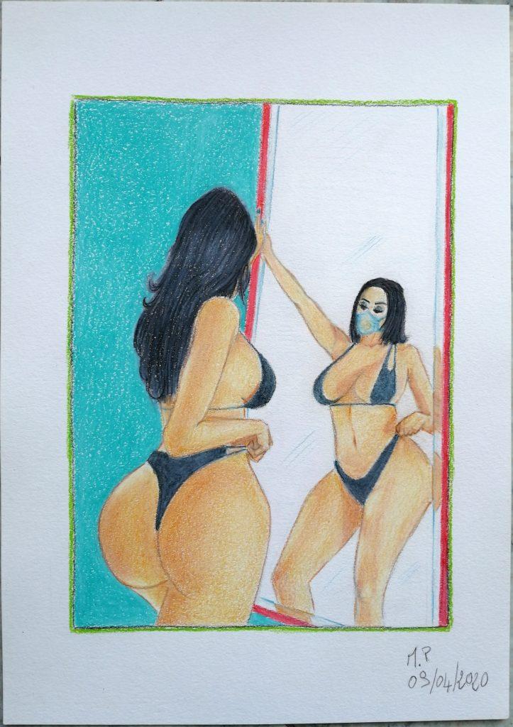Donna allo specchio,2020 disegno a penna e matite colorate su foglio FABRIANO,cm 21x29,Pasquale Mastrogiacomo.