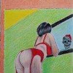 E la Bellezza si specchio nella Morte...,2020 disegno a penna e matite colorate su foglio FABBRIANO,cm 21x29,Pasquale Mastrogiacomo.