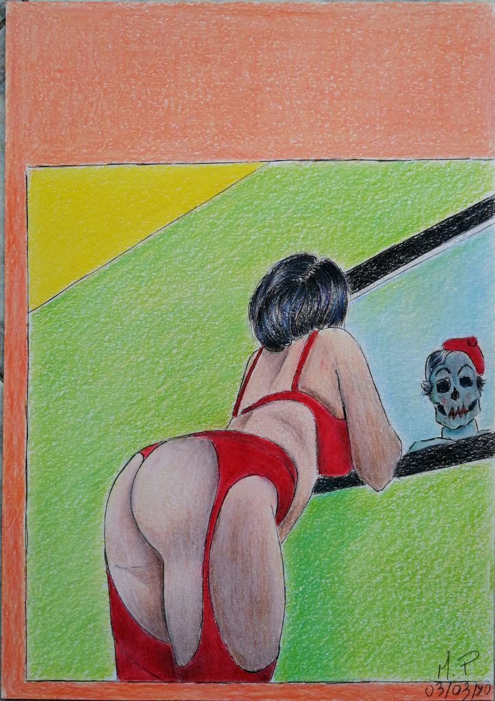 E la Bellezza si specchio nella Morte...,2020 disegno a penna e matite colorate su foglio FABRIANO,cm 21x29,Pasquale Mastrogiacomo.