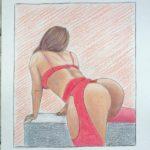 Semplicemente Donna,2020 disegno a penna e matite colorate su foglio FABBRIANO,cm 21x29,Pasquale Mastrogiacomo.