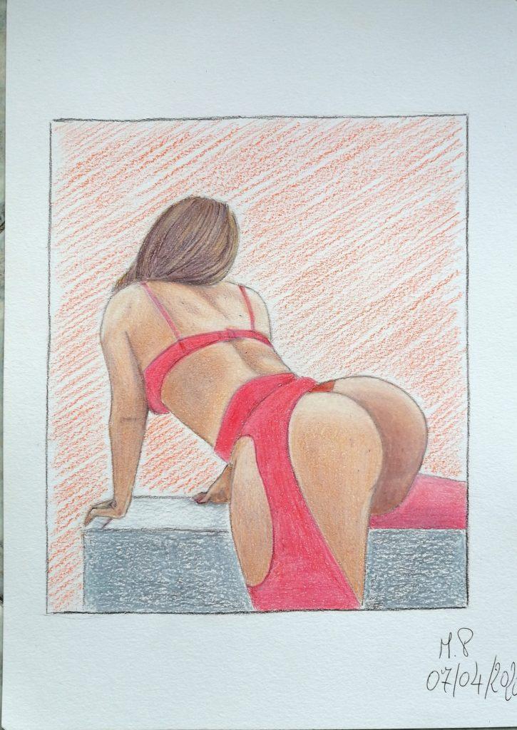 Semplicemente Donna,2020 disegno a penna e matite colorate su foglio FABRIANO,cm 21x29,Pasquale Mastrogiacomo.