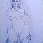 Amazzone,2020, disegno a penna su foglio bianco 21x29,5 cm, Pasquale Mastrogiacomo.