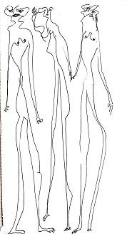 Figure filiformi, s.d disegno a penna, Pio Mastrogiacomo.