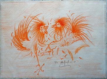 Combattimento di galli, disegno con pastelli 1989, Pio mastrogiacomo.
