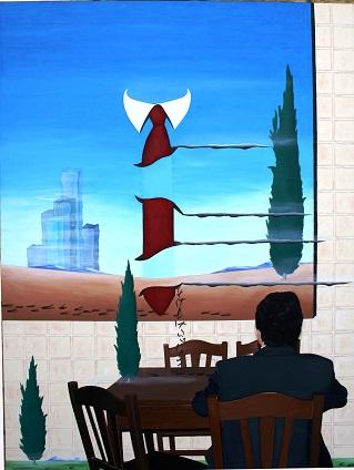 A tavola con le sanguisughe, Pasquale Mastrogiacomo, cm 60x80 olio su tela, 2012.
