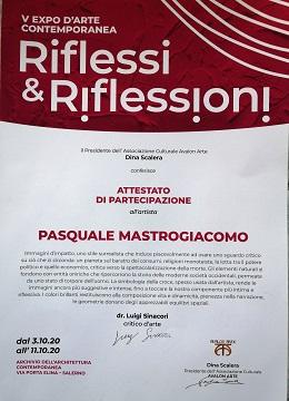 Attestato di partecipazione Riflessi e Riflessioni 2020, Avalon Arte, Pasquale Mastrogiacomo.
