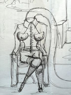 Schizzo , 2020 disegno a penna nera su carta, Pasquale Mastrogiacomo.