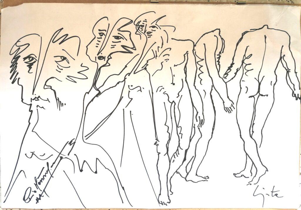 Disegno a quattro mani, s.d disegno a penna nera, Pio Mastrogiacomo.