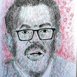 Ritratto di Tedros Adhanom Ghebreyesus, 2020 disegno a penna su foglio A4,Pasquale Mastrogiacomo.