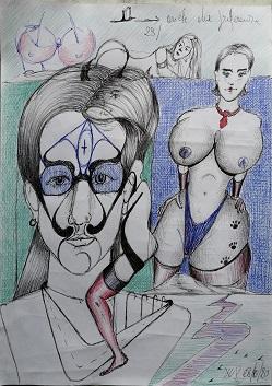 Scarabocchi d'autore, 2020 disegno a penna su foglio A4, Pasquale Mastrogiacomo.