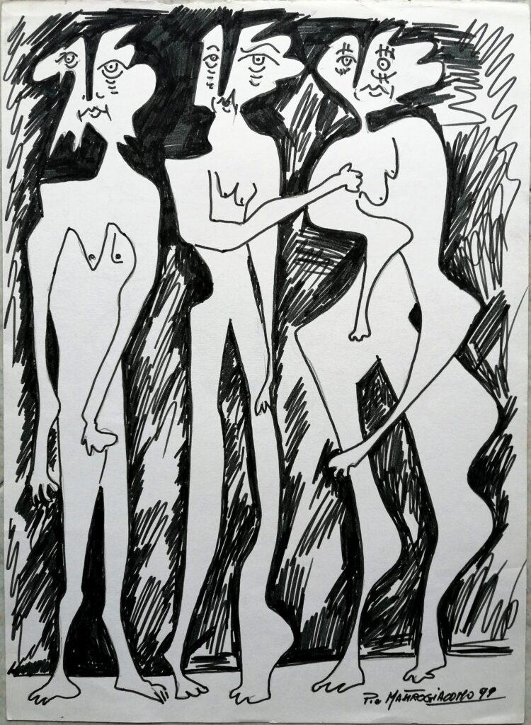 I riguardanti, 1999 disegno con pennarello, Pio Mastrogiacomo.